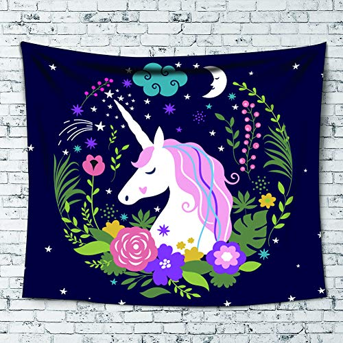 Uphome Unicorn Tepestry, Fairytle Animal Printed with Floral on Deep Blue Wall Hanging for Girls, Cute Decor for Home Living Room Dorm, 60''W x 80''L