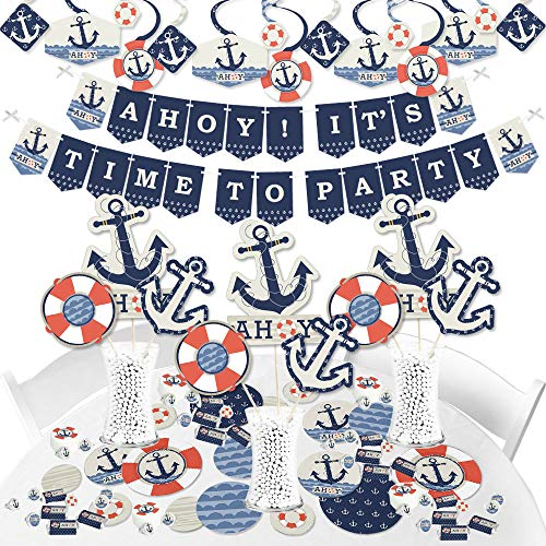 Big Dot of Happiness Ahoy - Nautical - Baby Shower or Birthday Party Supplies - Banner Decoration Kit - Fundle Bundle]()