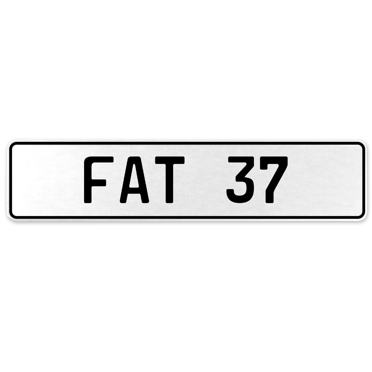 Vintage Parts 554535 Fat 37 White Stamped Aluminum European License Plate