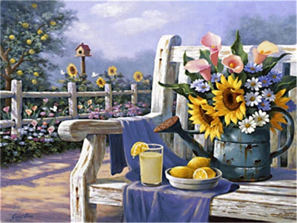 N/O Pintar por Numeros Chaise Lounge Flower DIY Acrílica Cuadro al óleo Pintura Kit para Adultos y Niños Principiantes con 3 Pinceles y Colores Brillantes 40x50cm con Marco