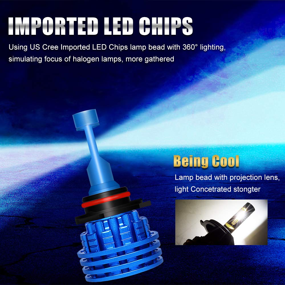 AU/_S8COB/_H10 S8-H10 AutoFeel H10 Led Headlight Bulbs 80W 8000LM 6500K Cool White with Cree Chips with 1 Year Warranty