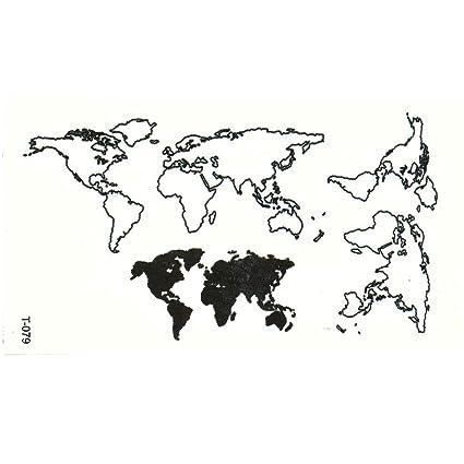 Just Fox - Tatuaje temporal, mapa del mundo, diseño negro, tatuaje ...