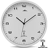Horloge Murale blanche radio pilotée changement heure automatique - Ø 31cm
