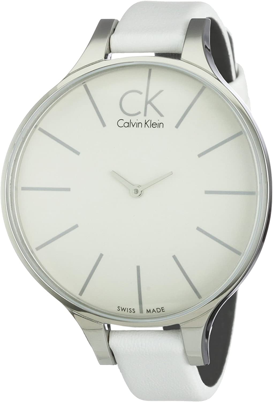 Calvin Klein K2B23101 - Reloj analógico de mujer de cuarzo con correa de piel blanca