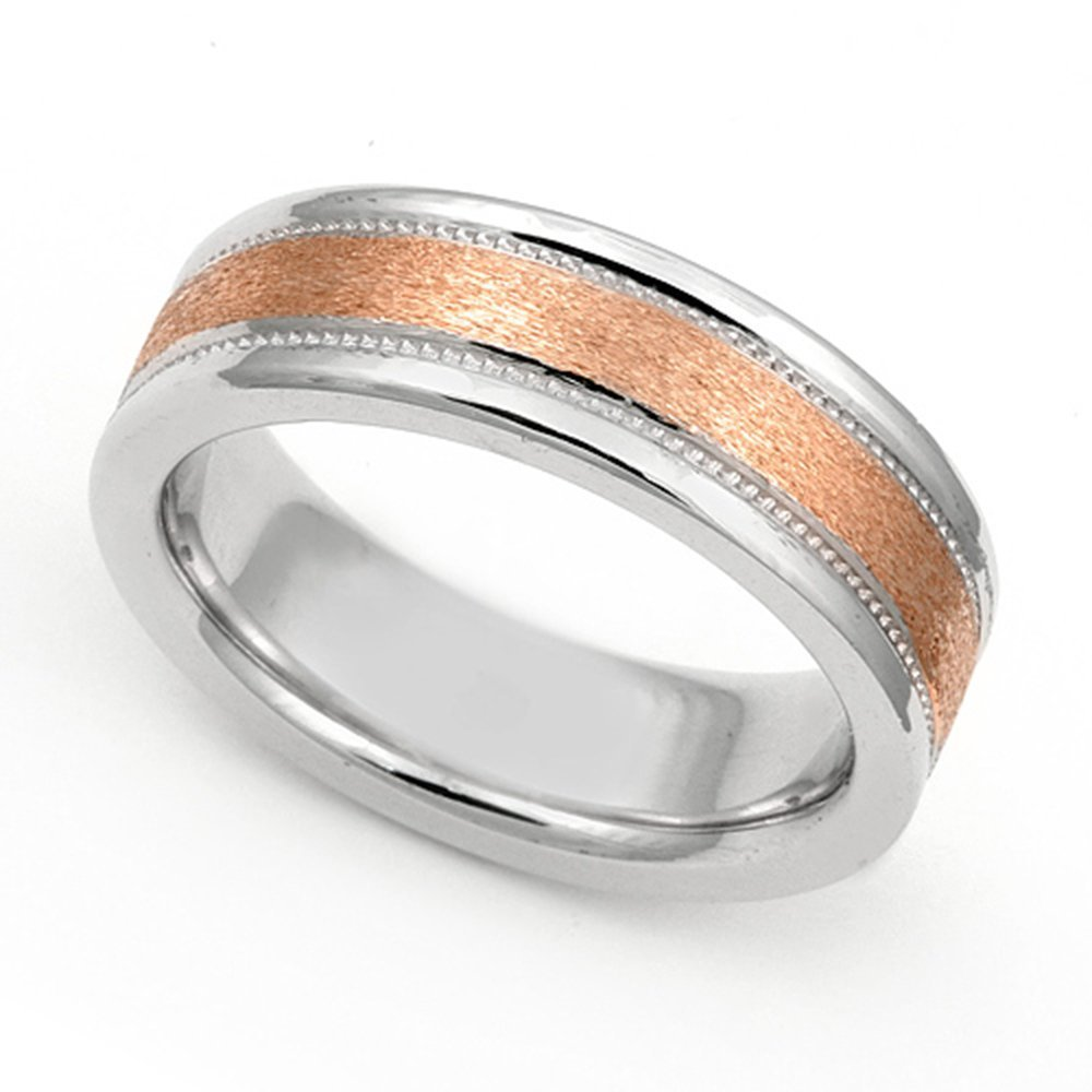 18k White and Rose Gold 6mm Two Tone Milgrain Wedding Band Ring, 10