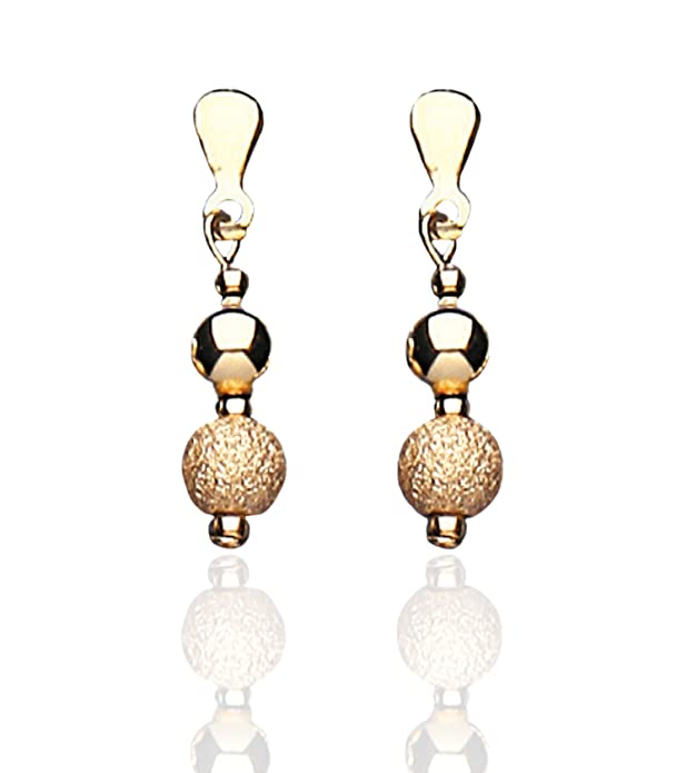 9ct Gold Plain Glitter Bead Drop Earrings Amazoncouk Jewellery