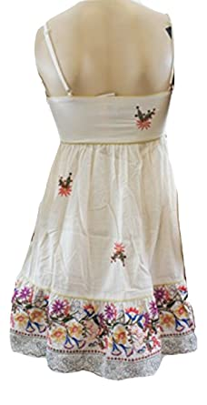 Topshop Rare At Beige Sequin Embroidered Summer Dress (UK 10)