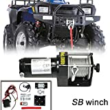 VIOJI 3000lb / 1361kg Capacity 12V 1.0kw Electric Recovery Waterproof Winch With Wired Switch & Wireless Remote For ATV Boat Trailer Snow Mobile Plow Off Road