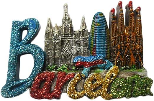 Imán de nevera de Barcelona España,Recuerdos turísticos famosos 3D,Imán de nevera de resina de letras,Decoración para el hogar y la cocina: Amazon.es: Hogar