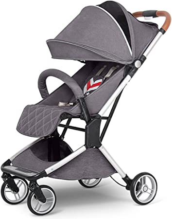 AB Baby Stroller can sit Horizontally Portable Folding Impact car Travel Four Seasons Universal Newborn Optional 3 Color Full Coverage Awning Color : Red