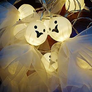 Jolik Ghost Halloween String Lights 10 LED Lace Ghost for Halloween Party Decor, Halloween Decoration, Halloween Lighting