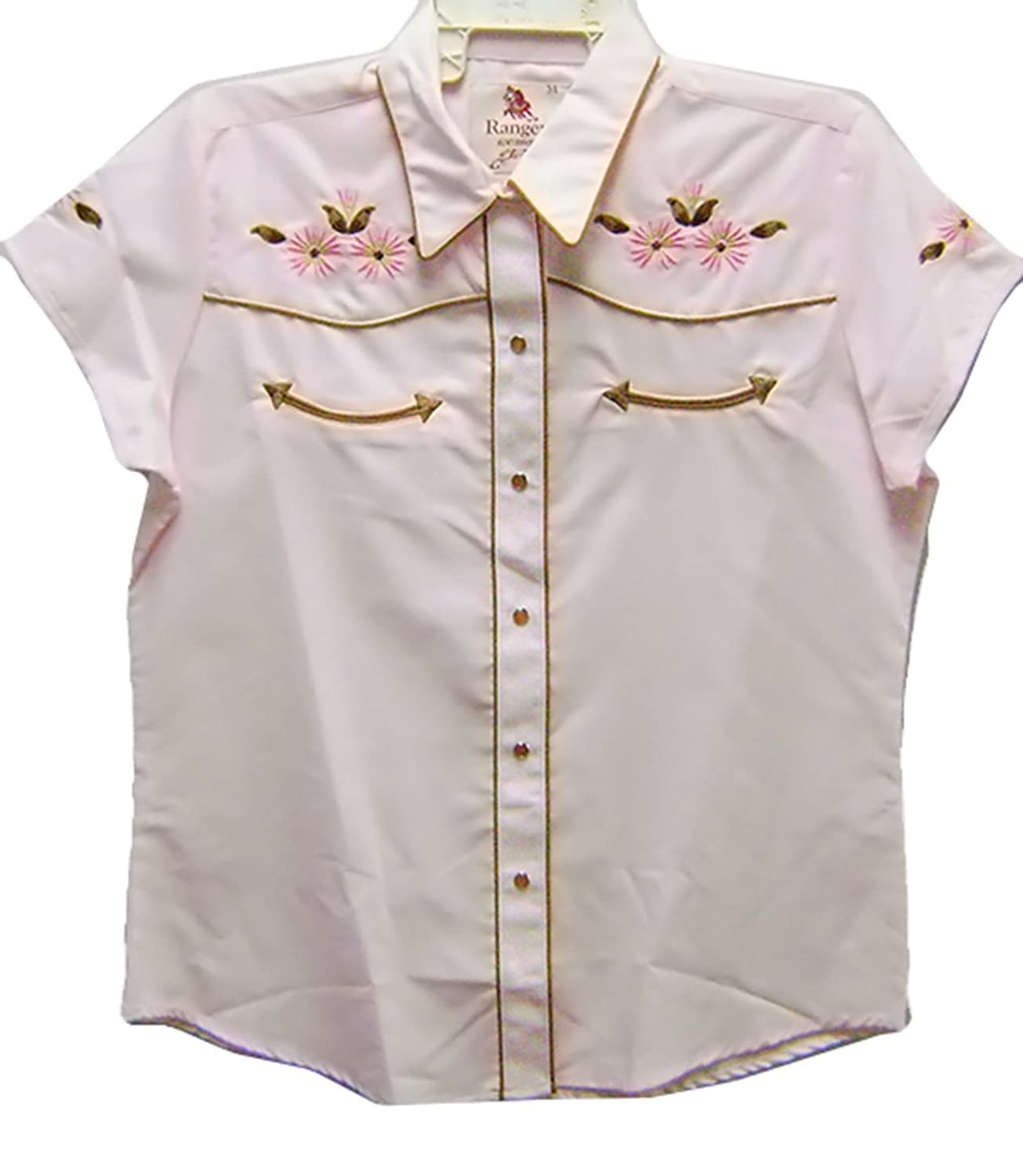 Modestone Women's Embroidered Short Sleeved Shirt Floral Embroidered Pink