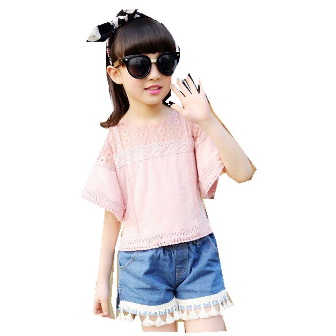 MV Children's Girls' Suit Summer Korean Cotton T-Shirt Tassel Jeans Two-Piece Suit