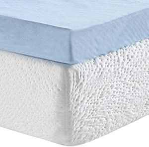 Classic Brands 3-Inch Cool Cloud Gel Memory Foam Mattress Topper With Free Cover, Twin XL