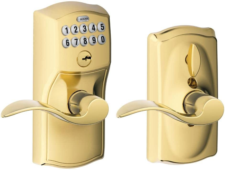 Schlage FE595-CAM-ACC Camelot Keypad Entry with Flex-Lock Door Lever Set with Ac, Lifetime Polished Brass