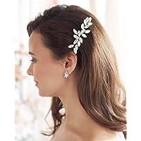 Unicra Brud bröllop hår kam silver opal kristall huvudbonad brud håraccessoarer för kvinnor och flickor