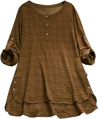 Aniywn Blusa tipo túnica de manga corta para mujer, de cuello redondo, suelta, de lino, casual, con botones