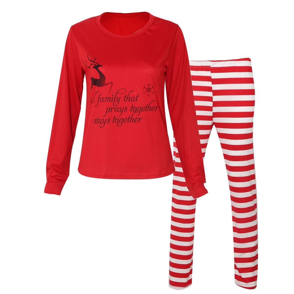 Family Matching Pajamas Adult Baby Cotton Stripe Nightwear Family Christmas Pajammies