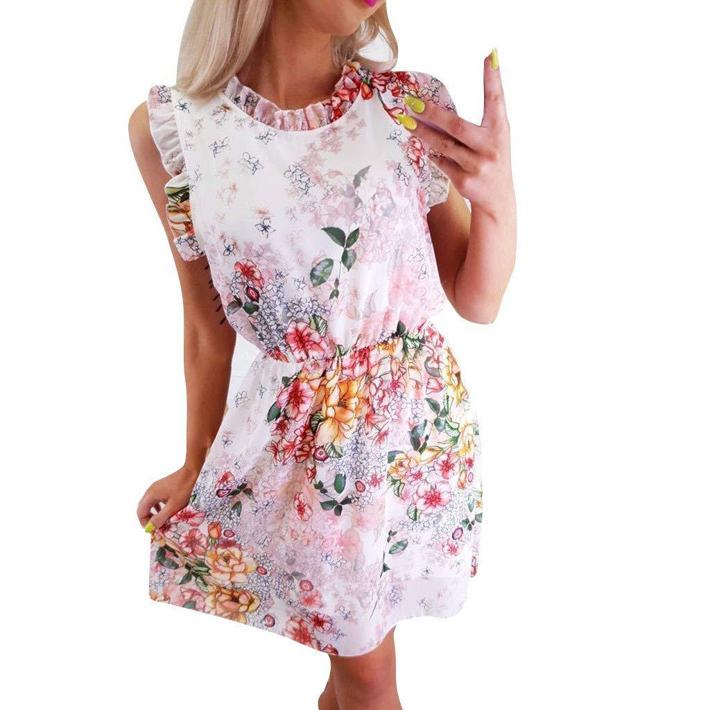 Sttech1 Women Casual Lace Print Floral Dress O-Neck Sleeveless Mini Short Dresses Pink