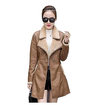 FuweiEncore Chaqueta de Invierno para Mujer Abrigo de Cuero Espesar Abrigo Medio Abrigo de Piel de Oveja de Piel cálida, Amarillo, M (Color : -, tamaño ...