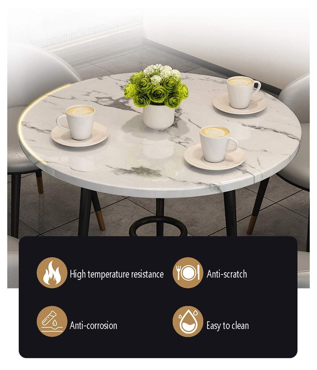 Bord och stolar köksset liten marmor rund bordsskiva metallben 3 konstläder stol kontor utomhus set fest pub hotell möte paus rum vardagsrum kök kafé restaurang Brun