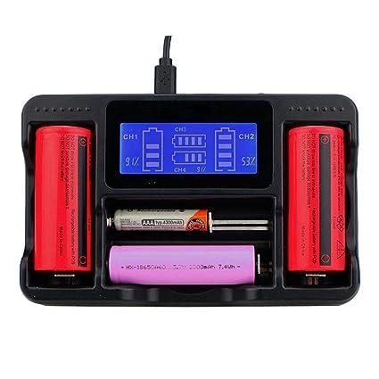 voberry Cargador, 4 slot Smart LCD Cargador para 26650 20700 ...