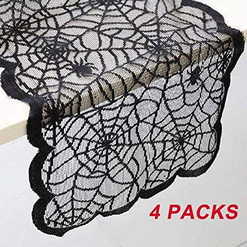 LGHome Halloween Decorations Black Lace Table Runner Spider Pattern Table Runner, Christmas Tablecloth, 13x72inch Black Table Runner for Home Decoration, 4 Pieces