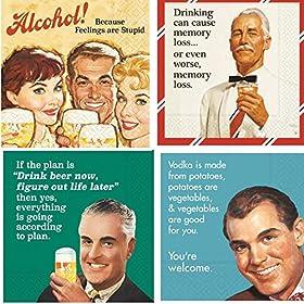 Men Cocktail Napkins Funny Beer Snarky Sarcastic Variety Pack 40 Total Paper Napkins