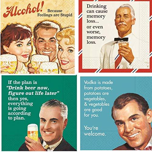 (Men Cocktail Napkins Funny Beer Snarky Sarcastic Variety Pack 40 Total Paper Napkins)
