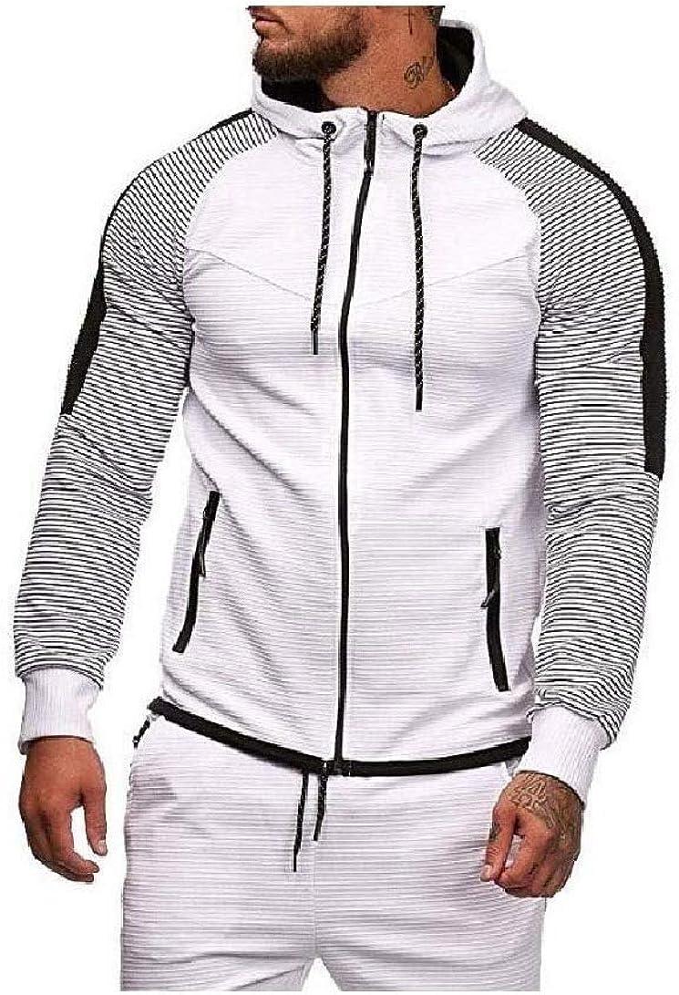 Doufine Mens Oversized Striped Hoodie Athletic Contrast Hooded Sweatshirt