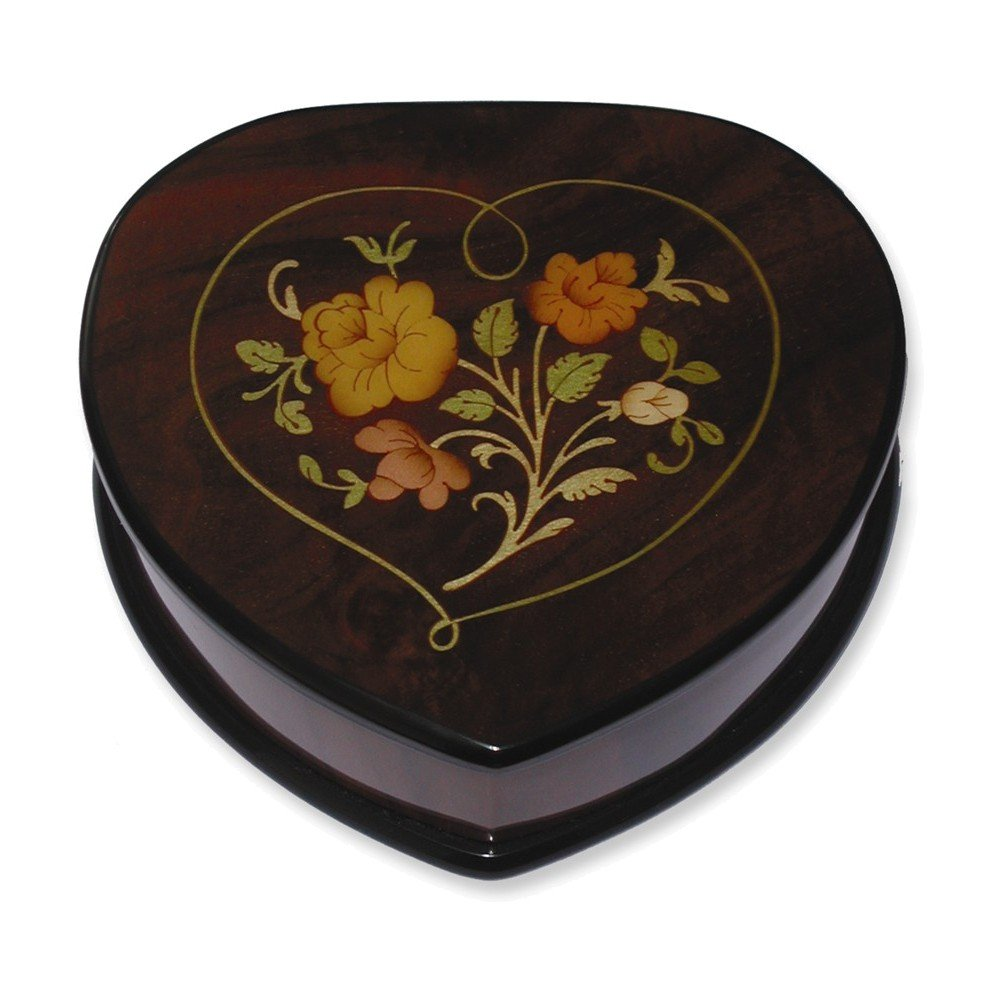 Brown Floral Inlay Heart Music Box by Jewelry Adviser Gifts