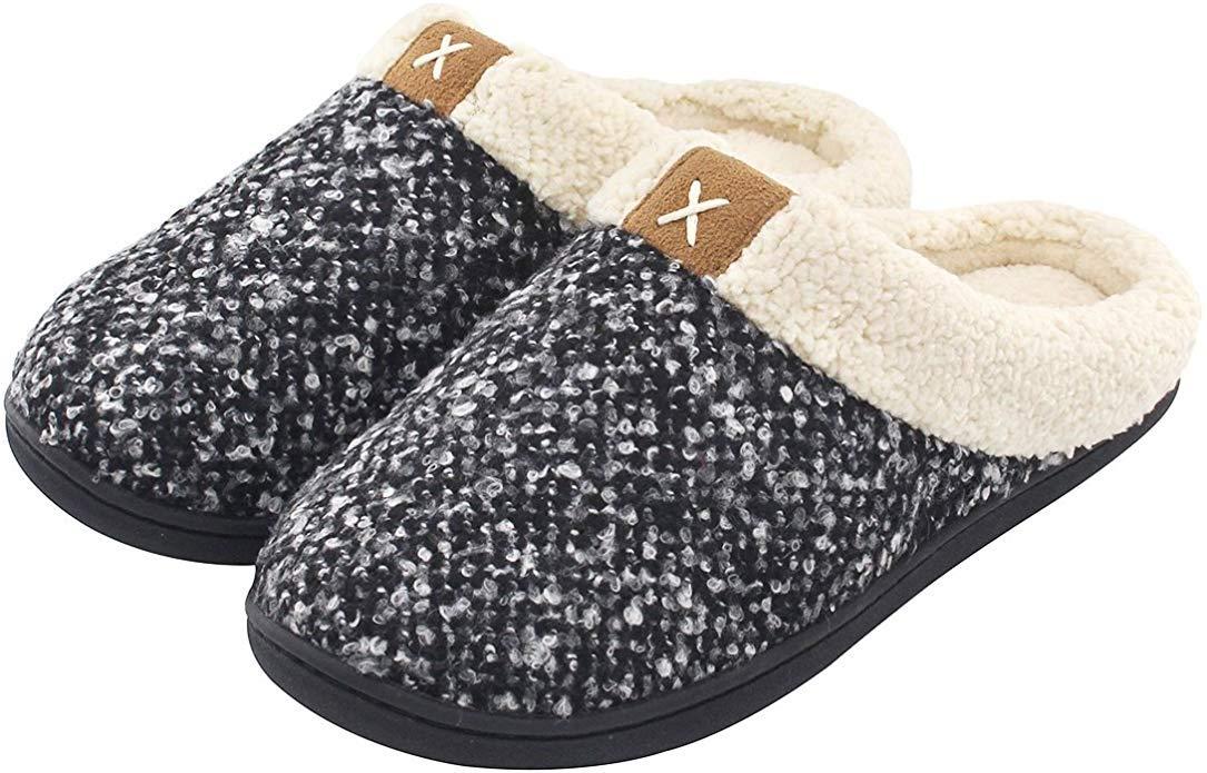 ULTRAIDEAS Women's Cozy Memory Foam Slippers Fuzzy Wool-Like Plush Fleece Lined House Shoes w/Indoor, Outdoor Anti-Skid Rubber Sole