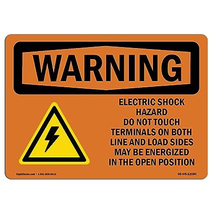 Señal de advertencia de Osha: peligro de choque eléctrico ...