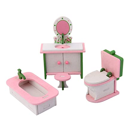 MagiDeal Wooden Dolls House Furniture Set Dollhouse Miniatures Bathroom Set  Kids Gift