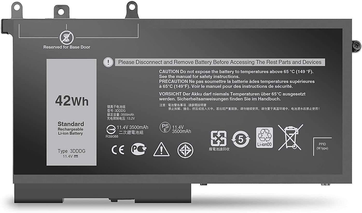 Fully 3DDDG Replacement Battery Compatible with Dell Latitude E5280 E5480 E5580 5280 5288 5290 5480 5488 5490 5491 5495 5580 5590 Precision 3520 3530 Series 049XH 45N3J 3VC9Y RRJDX - 11.4V 42Wh