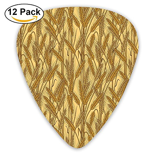 Newfood Ss Cereal Ears Rural Wheat Rye Field Pattern Agriculture Farmland Country Life Decorative Guitar Picks 12/Pack Set