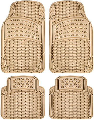 OxGord 4pc Rubber Floor Mats Universal Fit Front Driver Passenger Seat for Car SUV Van and Truck - Brick Style - Beige