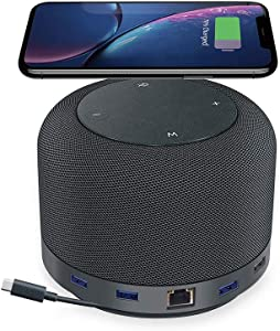 Universal Laptop Hub, Dock, and Speaker with USB-C/USB 3.0 Ports and Wireless Charging Pad for Work from Home (WFH) Compatible with MacBook and Windows PC | Hub by Remote