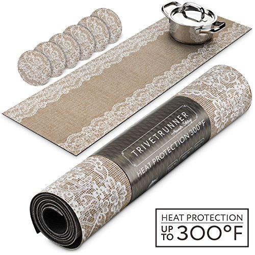 TRIVETRUNNER Jute Set with Coasters :Decorative Trivet and Kitchen Table Runners with Cup Coasters Set Handles Heat Up to 300F, Anti Slip, Waterproof and Convenient for Hot Dishes and Pots