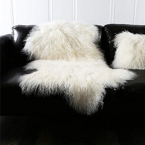 Genuine Tibetan Mongolian Sheepskin Fur Rug Hide Pelt Throw Rug Lamb Wool Carpet Curly Fur Used for Area Rug or Across Armchair Ivory White