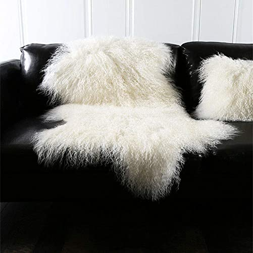 Genuine Tibetan Mongolian Sheepskin Fur Rug Hide Pelt Throw Rug Lamb Wool Carpet Curly Fur Used for Area Rug or Across Armchair Ivory White