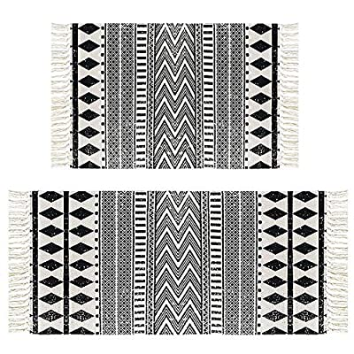 """HEBE Cotton Area Rug Set 2 Piece 2'x3'+2'x4.2' Machine Washable Black and Cream White Hand Woven Cotton Rug with Tassels Cotton Area Rug Runner for Living Room, Kitchen Floor, Laundry Room - Cotton Rugs Size: Hand Woven cotton tassel rugs set 2 pieces, small cotton accent rug measures 2'x3'(60*90cm) and long cotton runner rug measures 2'x4'3""""(60x130cm). Durable Cotton Rugs: Our cotton rug well made by 100% Natural Cotton material.Great water absorption,protect your floors from moisture, stains and scratches,give soft and breathable touch when people walk on them. Classic Design: Cotton rugs designed with geometric patterns and extra snazzy knotted fringe tassels on each side which make them seem simple. Black and cream white color that will make it never go out of style and long time stay on the floor and also match all themed room decor. - runner-rugs, entryway-furniture-decor, entryway-laundry-room - 61v6DtSYERL. SS400  -"""
