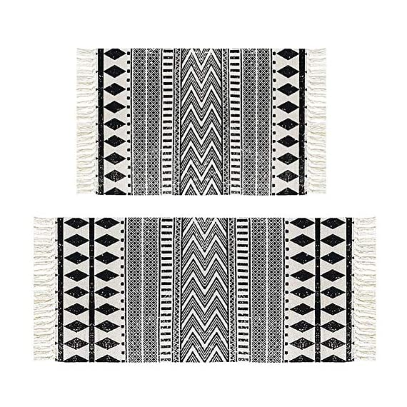 "HEBE Cotton Area Rug Set 2 Piece 2'x3'+2'x4.2' Machine Washable Black and Cream White Hand Woven Cotton Rug with Tassels Cotton Area Rug Runner for Living Room, Kitchen Floor, Laundry Room - Cotton Rugs Size: Hand Woven cotton tassel rugs set 2 pieces, small cotton accent rug measures 2'x3'(60*90cm) and long cotton runner rug measures 2'x4'3""(60x130cm). Durable Cotton Rugs: Our cotton rug well made by 100% Natural Cotton material.Great water absorption,protect your floors from moisture, stains and scratches,give soft and breathable touch when people walk on them. Classic Design: Cotton rugs designed with geometric patterns and extra snazzy knotted fringe tassels on each side which make them seem simple. Black and cream white color that will make it never go out of style and long time stay on the floor and also match all themed room decor. - runner-rugs, entryway-furniture-decor, entryway-laundry-room - 61v6DtSYERL. SS570  -"