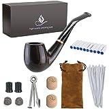 Joyoldelf 喫煙パイプ 木製 初心者 喫煙具 9mmフィルター シガー 3イン1スクレーパー クリーナー コルクノッカー アクセサリー タバコ ギフトボックス 携帯【父の日プレゼント】