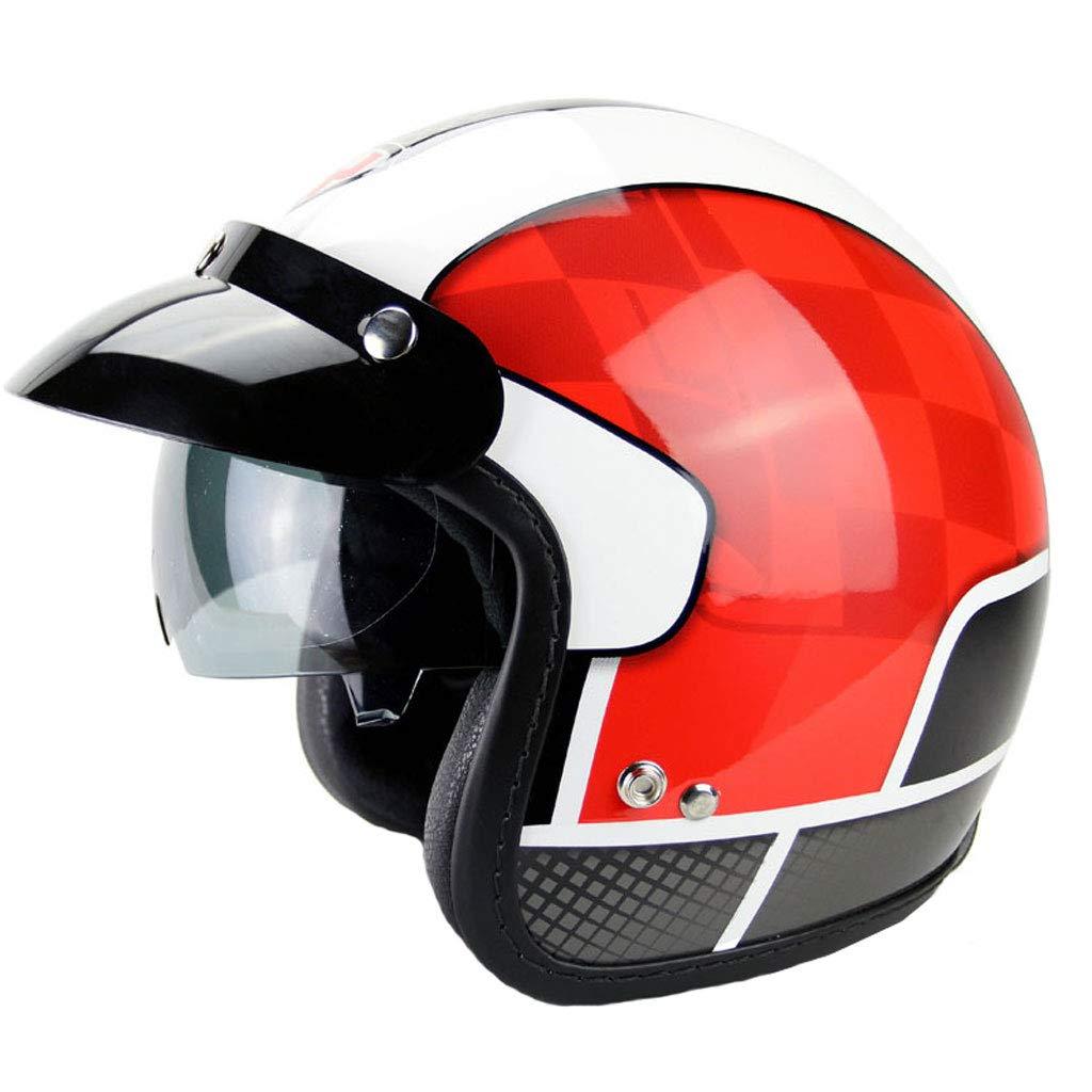 新しい電動バイクのヘルメット、レトロな機関車のハーレーヘルメット、日焼け止めレンズの半分のヘルメット、取り外し可能なライニングは、シンプルで便利な、暖かく、通気性のある安全でファッショナブルです。 (色 : Red, サイズ さいず : M) B07K2Y6PBB Medium|Red Red Medium