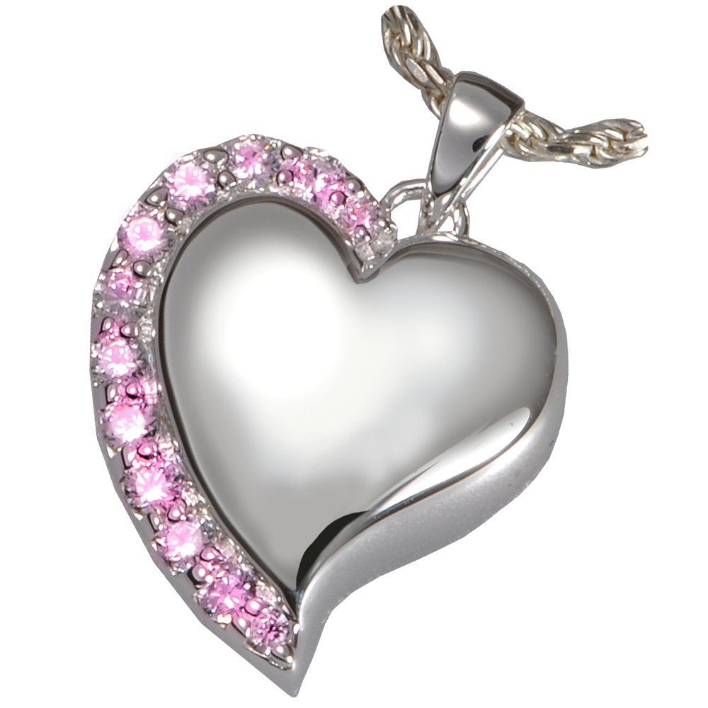 Memorial Gallery 3806wg Pink Shine Heart Pink Stones 14K Solid White Gold Cremation Pet Jewelry