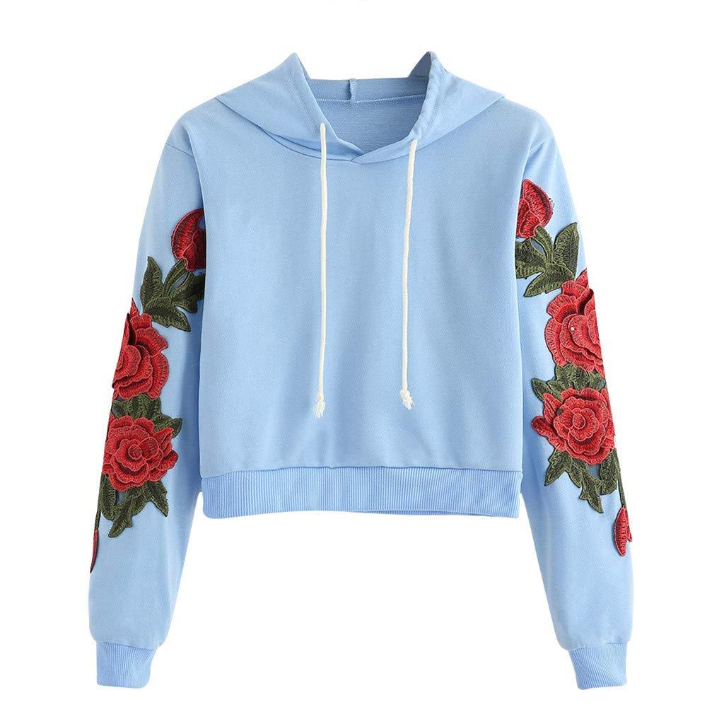 Autumn Sweatshirt for Women Long Sleeve Rose Applique Crop Top Drawstring Pullover Top Blouse T-Shirt (Blue,XL) by TozuoyouZ