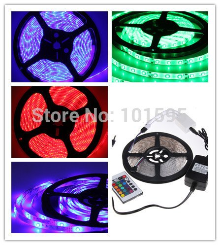Corcrest(TM) 5M/roll 3528 RGB flexible led strip 60leds/M +24key IR Romote Controller +2A power supply free by China Post. by Corcrest (Image #1)