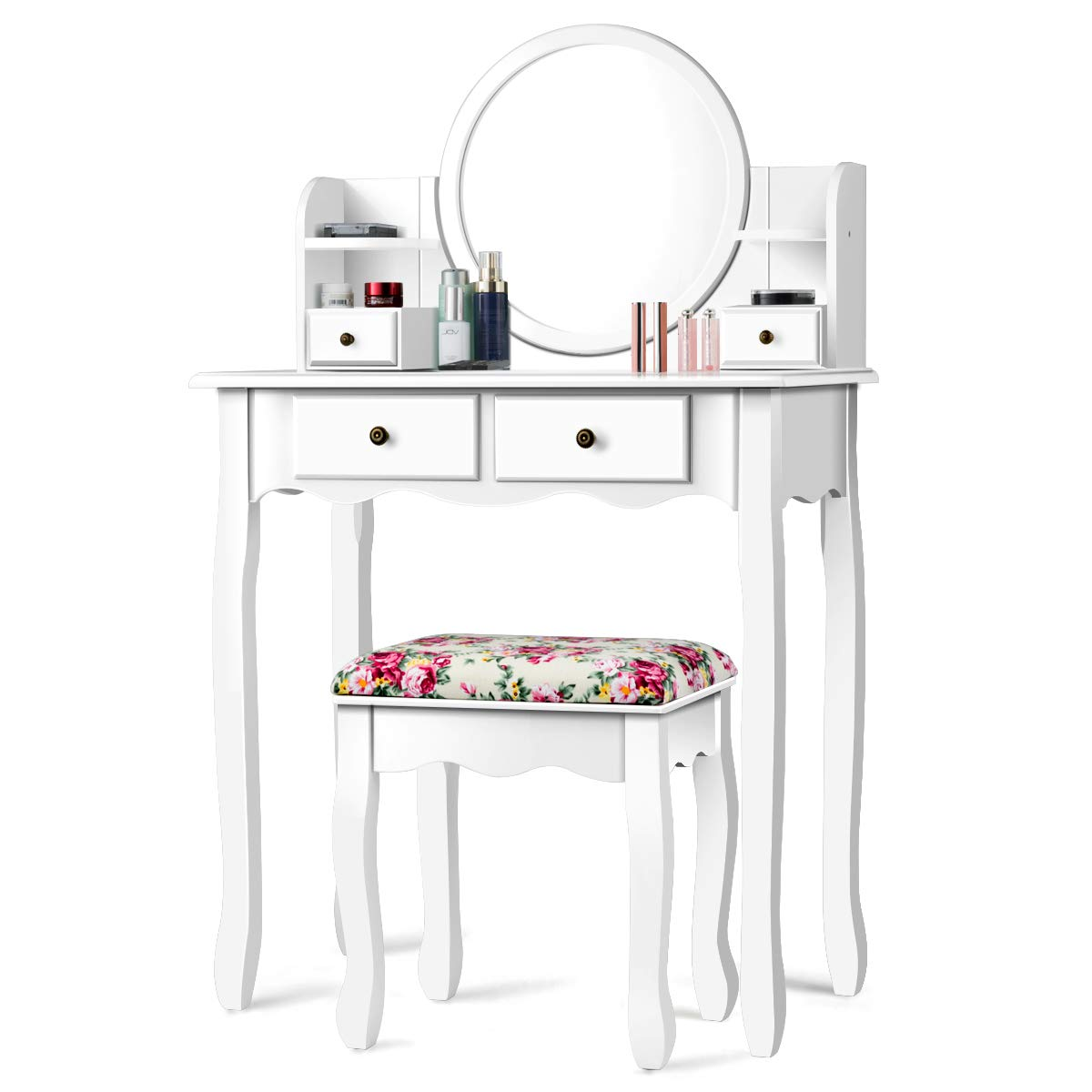 CHARMAID Vanity Set with 4 Storage Shelves and 4 Drawers, Makeup Table with 360 Pivoted Round Mirror and Makeup Organizers, Dressing Table with Mirror and Cushioned Stool for Women Girls White
