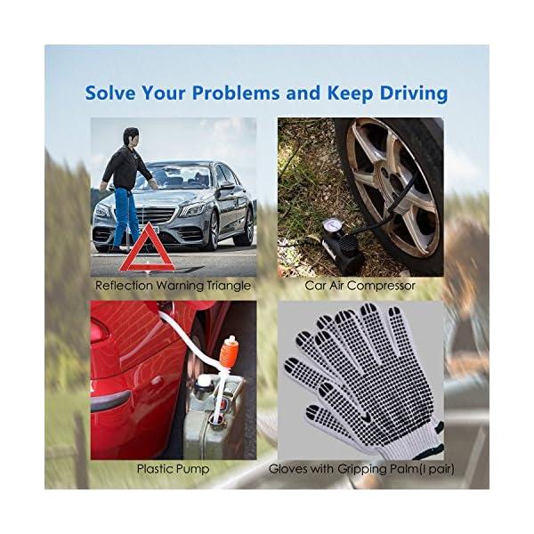 SAILNOVO Car Emergency Kit Multifunctional Roadside Assistance 97 In 1 Auto Emergency Kit With Jumper CablesTow RopeTriangleFlashlightTire Pressure GaugesSafety Hammeretc